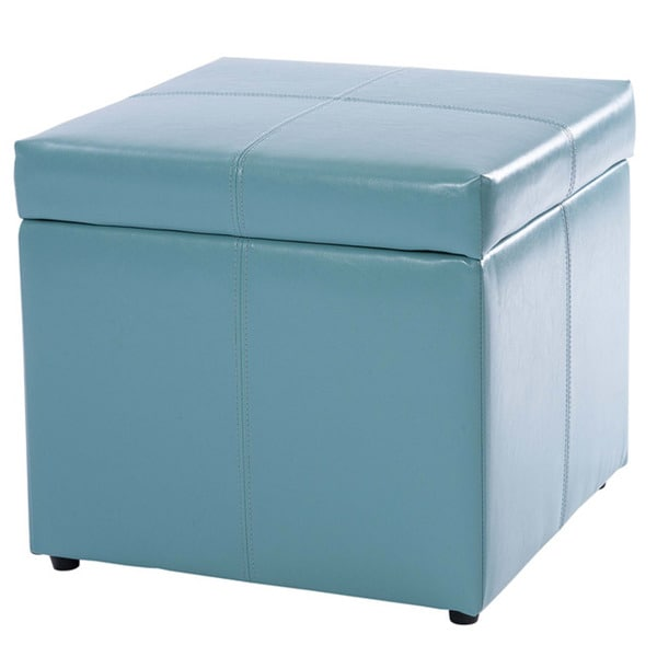 square teal blue cube storage ottoman by christopher knight home - Storage Ottoman Cube