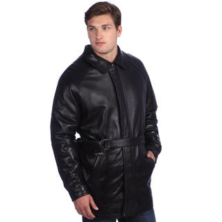 United Face Men's Lambskin Leather Belted Coat
