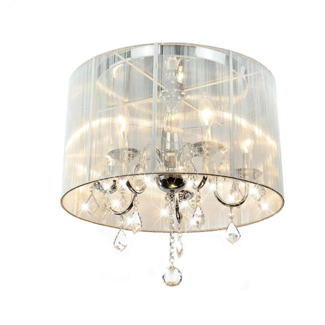 emma white shade chrome and crystal flushmount chandelier free