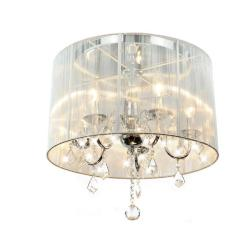 emma white shade chrome and crystal flushmount chandelier white fabric shade crystal modern drum r40 drum