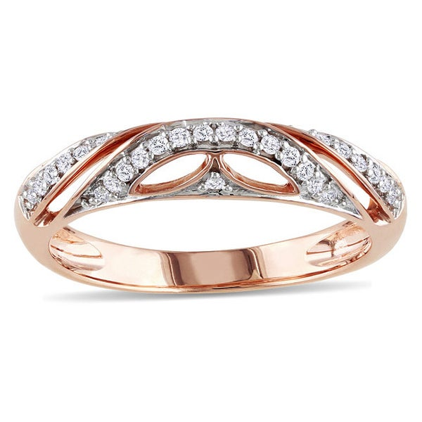 Miadora 10k Pink Gold 1/8ct TDW Diamond Ring