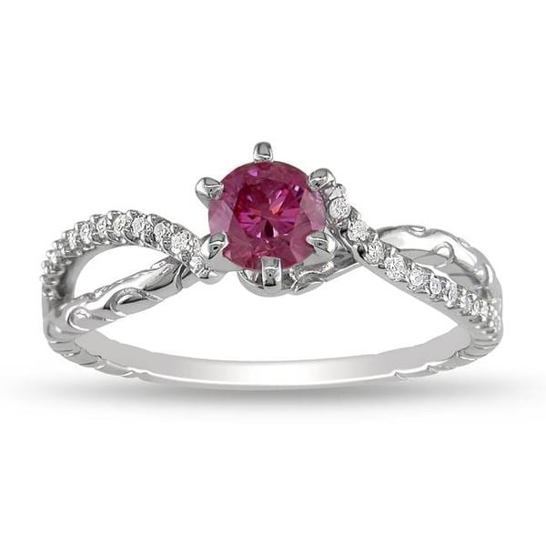 Miadora 14k White Gold 5/8ct TDW Pink and White Diamond Ring (G-H, I1-I2)