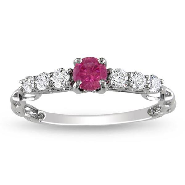 Miadora 14k Gold 5/8ct TDW Pink and White Diamond Ring (G-H, I1-I2)