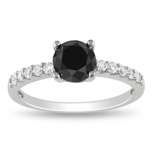 Miadora 14k Gold 1 1/4ct TDW Black and White Diamond Solitaire Engagement Ring