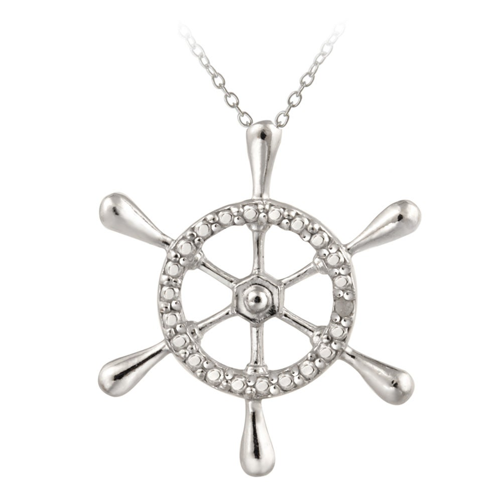 DB Designs Sterling Silver Diamond Accent Ship Wheel Necklace