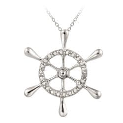 DB Designs Sterling Silver Diamond Accent Ship Wheel Necklace - Thumbnail 0