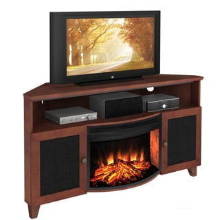 Furnitech Shaker 60-inch Dark Cherry TV Console with Curved Electric Fireplace