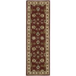 """Nourison Traditional Hand-Tufted Caspian Red Wool Rug (2'3"""" x 7'6"""")"""