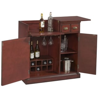 Hand Painted Red Accent Wine Bar Chest
