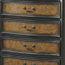 Hand Painted Brown Faux Embossed Leather Accent Chest - Thumbnail 1