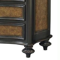 Hand Painted Brown Faux Embossed Leather Accent Chest - Thumbnail 2