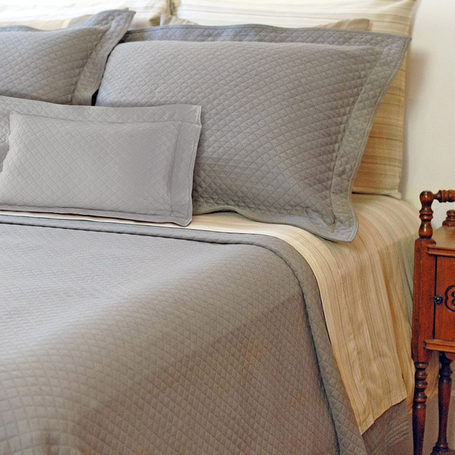 Diamante Twin Size Grey Matelasse Coverlet