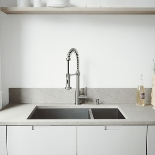 VIGO Undermount Stainless Steel Kitchen Sink/ Faucet/ Grid/ Two Strainers/ Dispenser