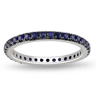Miadora Signature Collection 14k White Gold Blue Sapphire Full-eternity Band