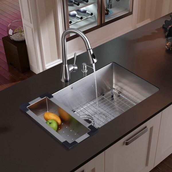 """VIGO All-In-One 30"""" Mercer Stainless Steel Undermount Kitchen Sink ..."""