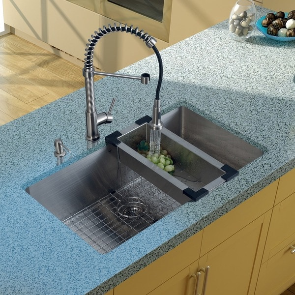 VIGO All-in-One 32-inch Stainless Steel Undermount Kitchen Sink and Edison Stainless Steel Faucet Set