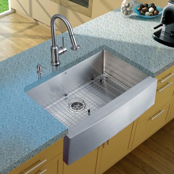 VIGO Farmhouse Stainless Steel Kitchen Sink/ Faucet/ Grid/ Strainer/ Dispenser