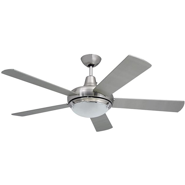 Contemporary 52 inch nickel 2 light ceiling fan free for White contemporary ceiling fans with lights