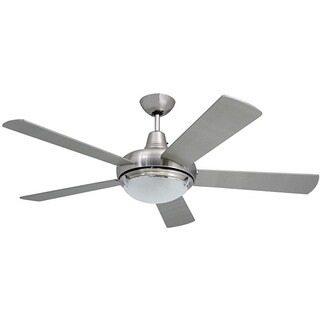 Contemporary 52 Inch Nickel 2 Light Ceiling Fan