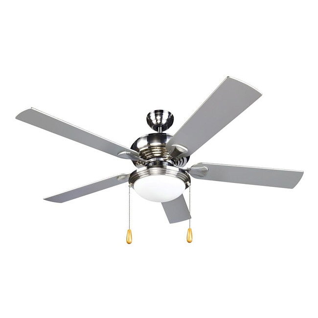 Contemporary Brushed Nickel 2-light Ceiling Fan
