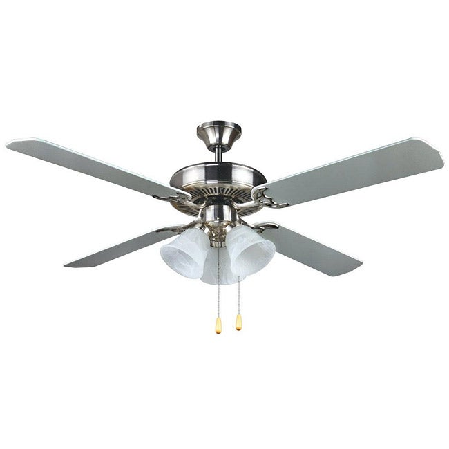 Transitional 52-inch Nickel Ceiling Fan - Thumbnail 0