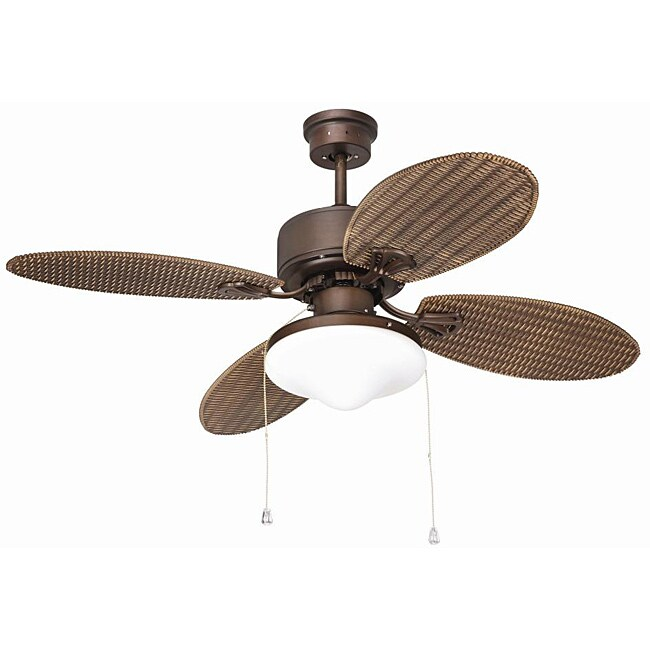 Outdoor Rubbed Bronze Two-light Ceiling Fan