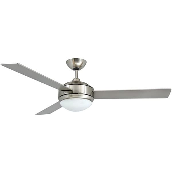 Contemporary 52-inch Brushed Nickel 2-light Ceiling Fan