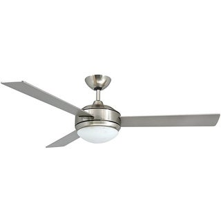 Contemporary 52 Inch Brushed Nickel 2 Light Ceiling Fan