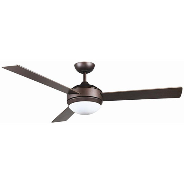 Aztec Lighting Contemporary Oil-rubbed Bronze-finish/Opal White Steel/Glass 2-light Ceiling Fan