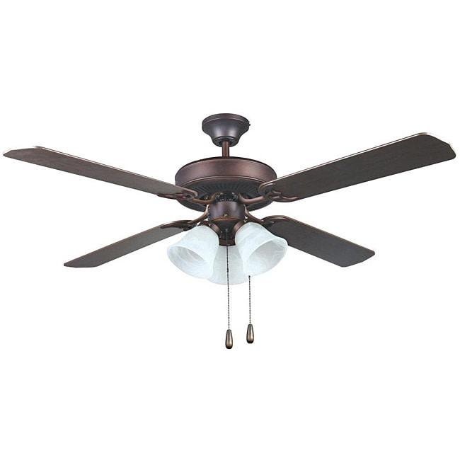 Transitional Oil Rubbed Bronze Three-light Ceiling Fan