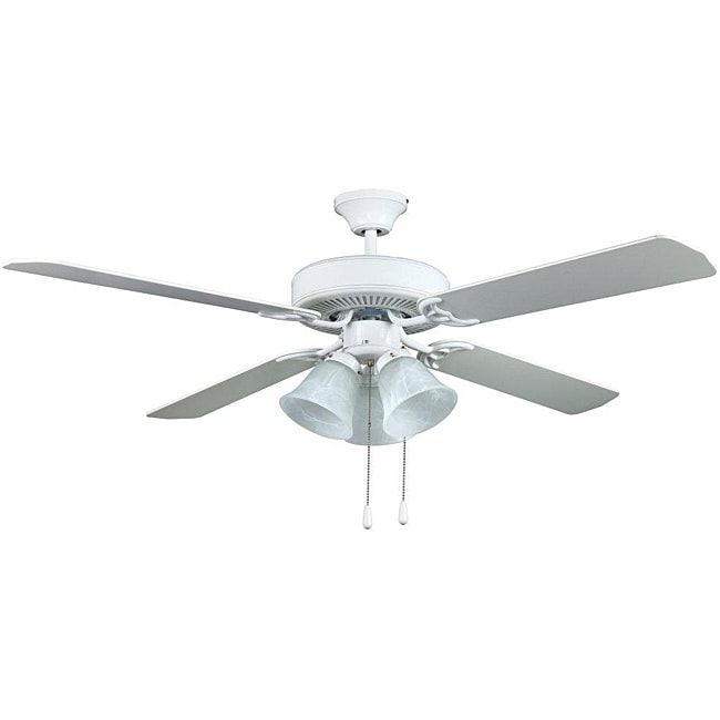 Transitional White Three-light Ceiling Fan - Thumbnail 0