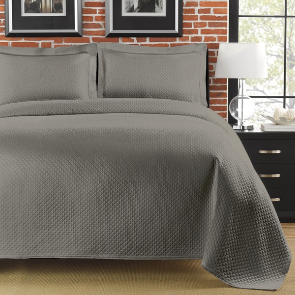 Diamante King Size Grey Matelasse Coverlet