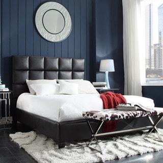 TRIBECCA HOME Sarajevo Dark Brown Bonded Leather Column Queen-sized Upholstered Platform Bed