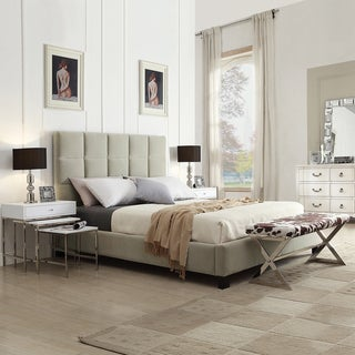 TRIBECCA HOME Sarajevo Taupe Velvet Column Full-sized Upholstered Platform Bed