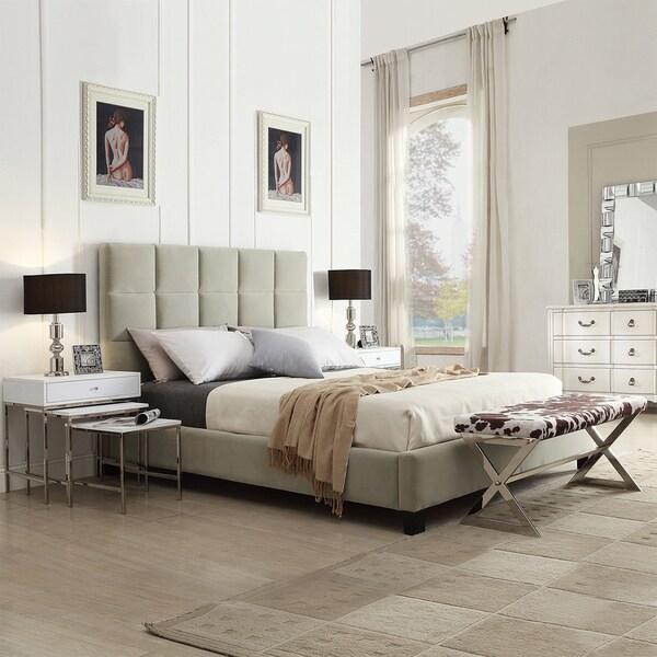 TRIBECCA HOME Sarajevo Taupe Velvet Column Full-sized Upholstered Platform Bed