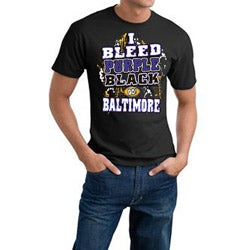 Baltimore Football 'I Bleed Purple & Black' Cotton Tee