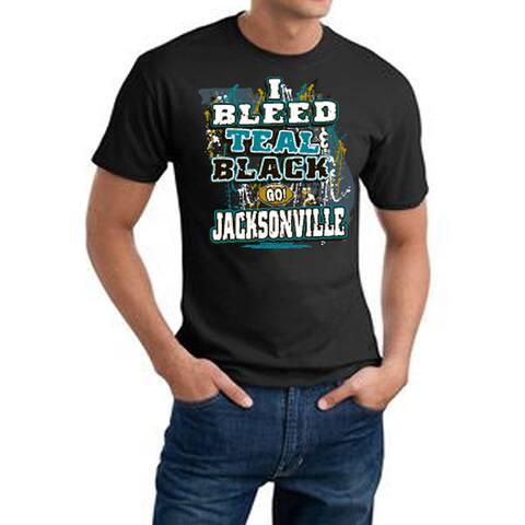 Men's Jacksonville Jaguars Football 'I Bleed Teal & Black' Cotton Tee - Black