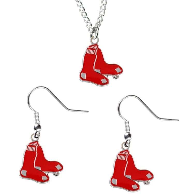 Aminco Usa Boston Red Sox Necklace and Dangle Earring Cha...