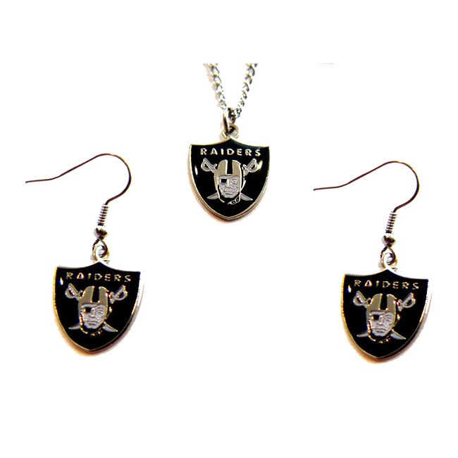 Oakland Raiders Necklace and Dangle Earring Charm Set