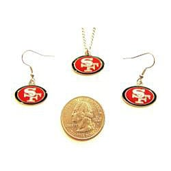 San Francisco 49ers Necklace and Dangle Earring Charm Set - Thumbnail 1