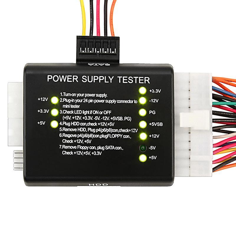 INSTEN Black 20/ 24 Plug-in Power Supply Tester for ATX/ SATA/ HDD/ PSU