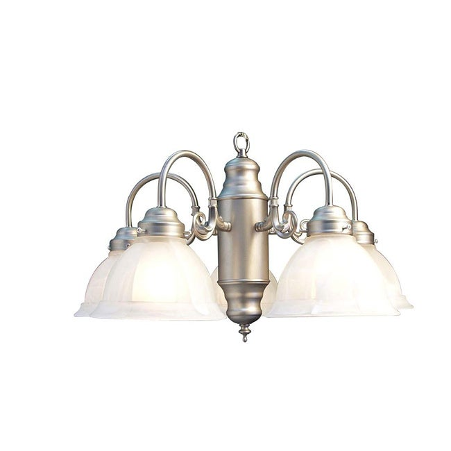 Woodbridge Lighting Basic 5-light Satin Nickel Marble Glass Chandelier - Thumbnail 0