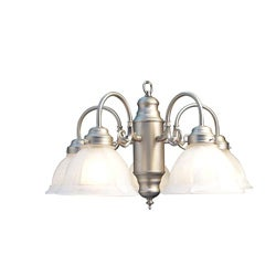 Woodbridge Lighting Basic 5-light Satin Nickel Marble Glass Chandelier