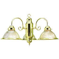 Woodbridge Lighting Contemporary Basic Three-Light Polished Brass Chandelier