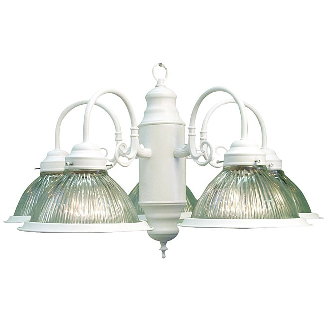 Woodbridge Lighting Basic 5-light White Prism Glass Chandelier - Thumbnail 0