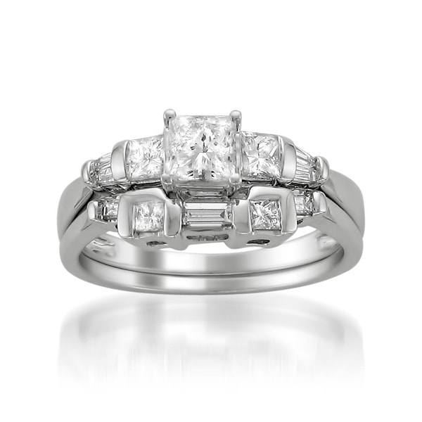 Montebello 14k White Gold 1ct TDW Princess Diamond Bridal Ring Set (G-H, I1)