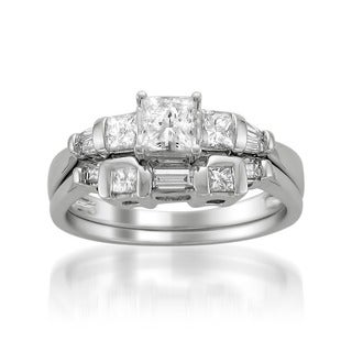 Montebello 14k White Gold 1ct TDW Princess Diamond Bridal Ring Set