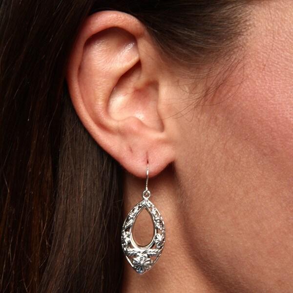 Sunstone Sterling Silver Marquise Flower Filigree Dangle Earrings