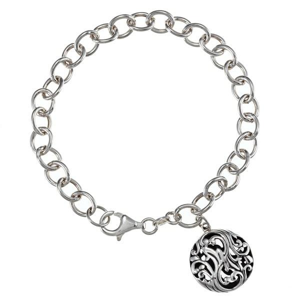 Sunstone Sterling Silver Antiqued Round Charm Bracelet