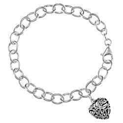 Sunstone Sterling-silver Bracelet with Filigreed Heart Charm